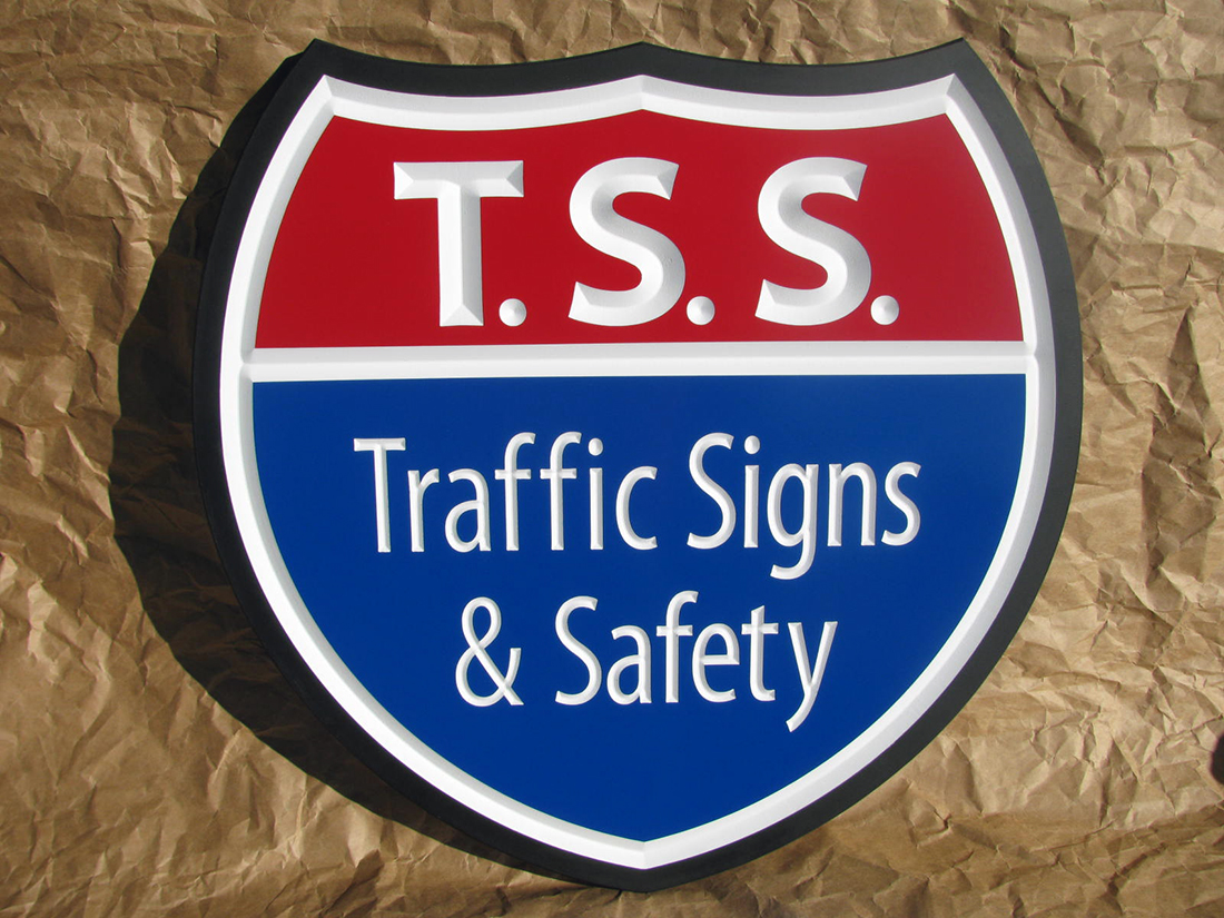 Business Sign 20w x 20h x 1 thick PVC material, with red and